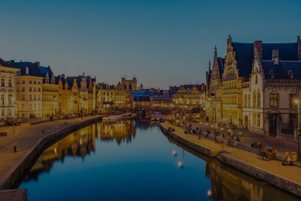 Belgium twilight cityscape around Ghent Canal