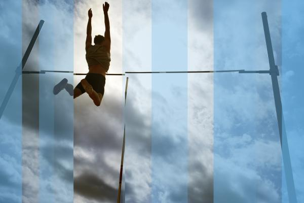Talented athlete high-jumps