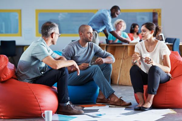 mixed group of diverse employees engaged in idea generation