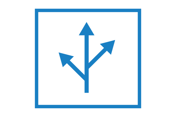 Cubiks' Simulations Icon in blue of box with path branching into three direction arrows in center