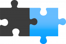 icon with 2 pieces of a puzzle fitting together