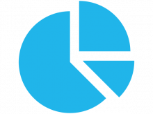 pie chart blue graphic